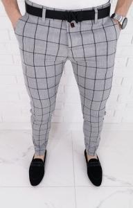 Jasnoszare eleganckie spodnie slim fit w duza czarna krate 64J