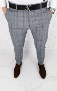 Szare eleganckie spodnie slim fit w krate z niebieska wstawka 1537