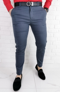 Stalowe eleganckie meskie spodnie slim w czarna drobna krate 1538