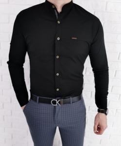 Czarna gladka meska koszula ze stojka z przeszyciami 0134/2