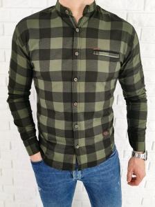 Męska koszula w kratę zieleń