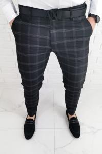 Czarne eleganckie spodnie slim fit w biala krate 1547