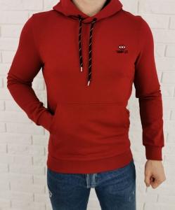Bordowa bluza meska z kangurka kaptur Tommy Life 87872