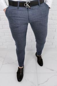 Granatowo szare eleganckie spodnie meskie slim fit w krate Stylovy 1570