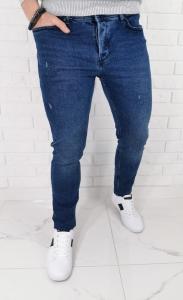 Ciemne jeansy meskie slim fit z delikatnymi przetarciami B-399 Premium