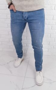 Jasne jeansy meskie slim fit z lekkimi przetarciami 7258 premium