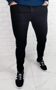Czarne jeansy meskie slim fit bez dziur premium B-390