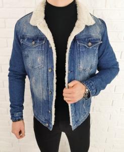 Ocieplana jeansowa kurtka meska z futerkiem 7085