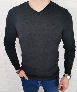 Meski sweter antrasit w serek znaczek 3454