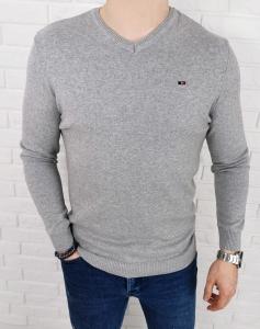 szary meski sweter w serek znaczek 3454