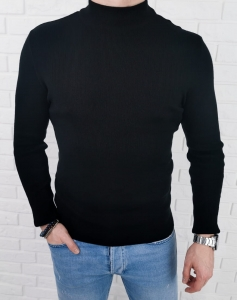 Czarny polgolf sweter meski 3431