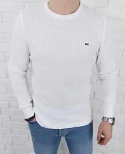 Bialy pleciony sweter meski znaczek 3210