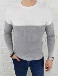 Szaro-bialy sweter meski 3532