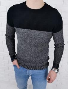 Czarno-szary sweter meski 3532