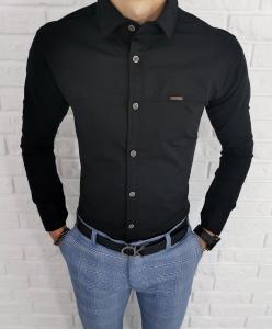 Czarna koszula z kołnierzem oryginalne przeszycia 0208/2