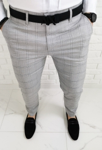 Szare eleganckie meskie spodnie slim fit w krate 1475