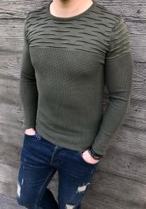 Bawełniany męski sweter khaki