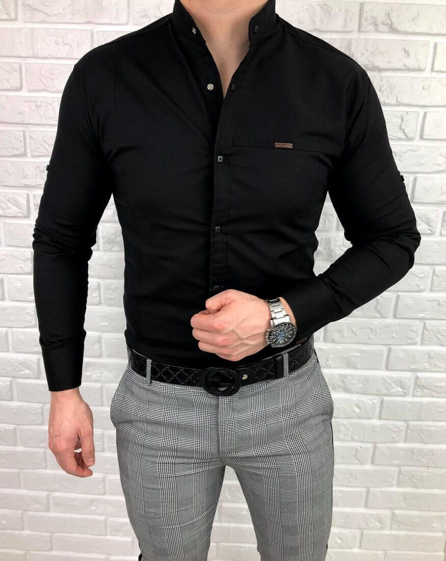 Czarna meska koszula ze stojka zapinana na kwadratowe napy  Sr4Zs