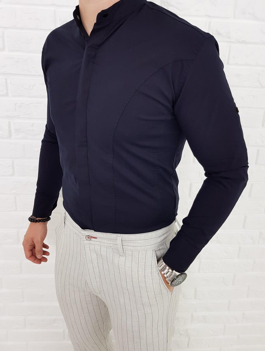 Granatowa koszula zakryte guziki przeszycia 01263 Sklep  OHw6I
