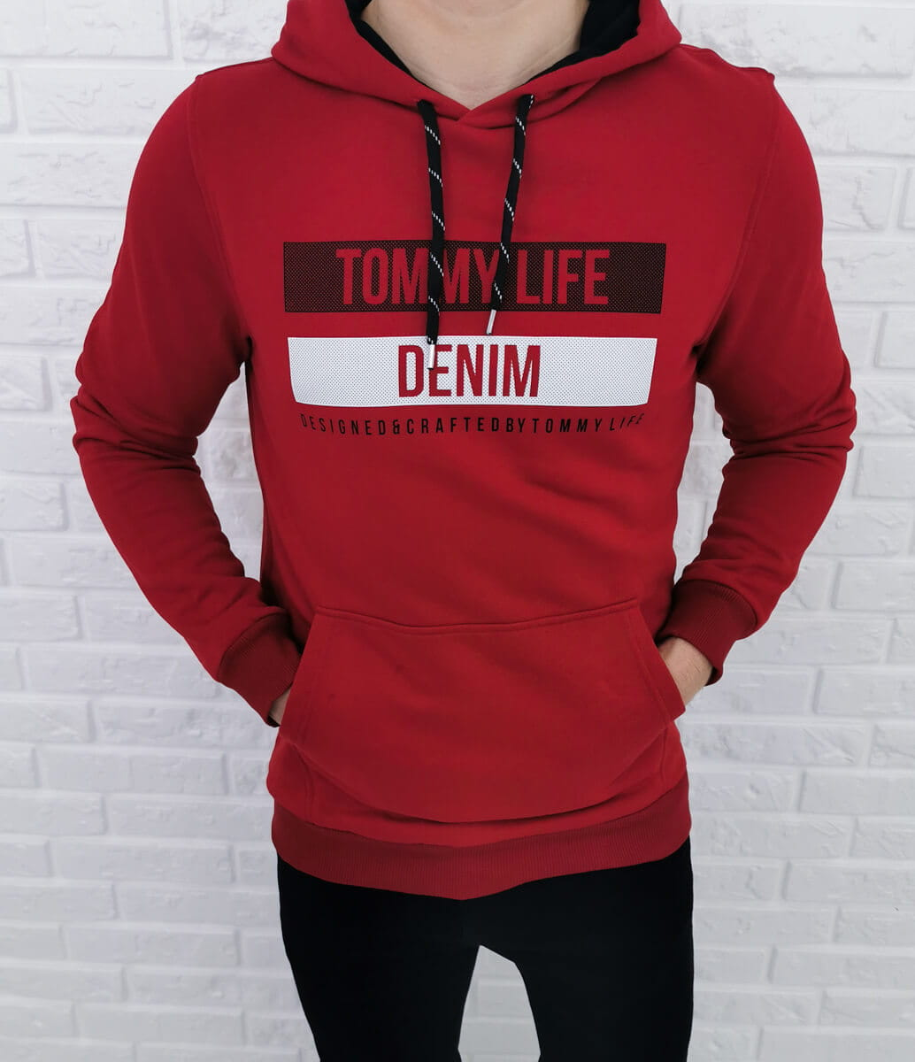 Bordowa bluza Tommy life denim z kapturem 87651