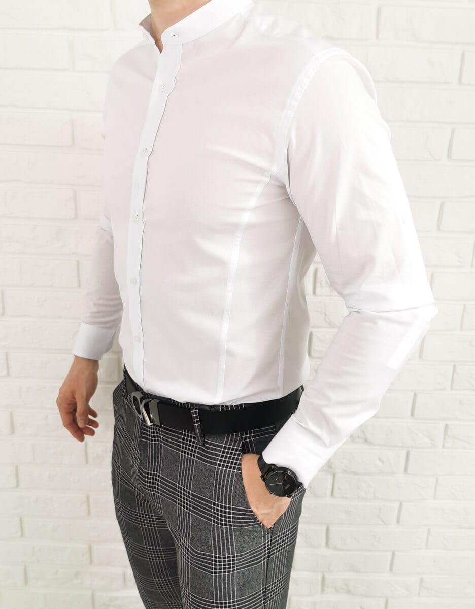 Biala taliowana koszula ze stojka przeszycia imaginazzi 1468  uHFyF